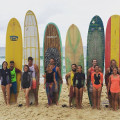 All the teams are ready for the Tandem surfing exhibition.